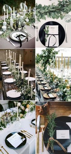White wedding table setting, White wedding theme, Black wedding table, Wedding ideas for fall Wedding table themes, Wedding table settings - So today we're sharing wedding ideas all about gree - Wedding Table Themes, Wedding Centerpieces, Wedding Decorations, Wedding Ideas, Wedding Inspiration, Table Set Up Wedding, Wedding Signs, White Table Settings, Wedding Table Settings