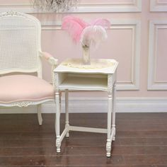 Shabby Cottage Chic Side Table Petite White Pink French Vintage Home Decor #Cottage