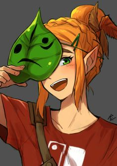 Princess Zelda with a korok mask and a Nintendo switch t-shirt xD
