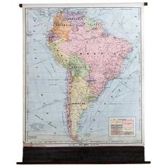 Vintage Cram's Pull Down Map of South America (£200) ❤ liked on Polyvore featuring home, home decor, vintage home accessories, map home decor and vintage home decor