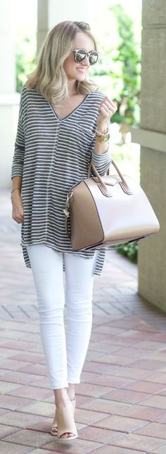 Oversized Striped Top Outfit Idea by A spoonful of Style