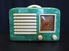 1940s GENERAL TELEVISION ART DECO OLD MID CENTURY SWIRLED BAKELITE RADIO