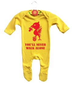 Baby's Liverpool FC football team inspired yellow bodysuit onesie baby grow. You'll never walk alone. by MumKnowsBabyGrows on Etsy