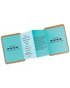 These customizable pocket wedding programs unfold to inform and are from Baumbirdy.
