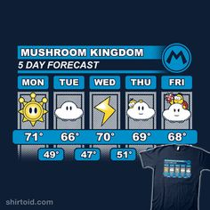 Mario Forecast | Shirtoid #adamhowlett #adho1982 #forecast #gaming #mushroomkingdom #nintendo #supermariobros #videogame #weather