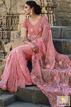 Bhumi Fashion Pink Color Pure Net Dulhan Saree Online Shopping In UK…