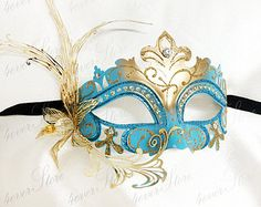 Teal & Gold Venetian Masquerade Mask, Metal Masquerade Mask with Rhinestones and Filigree Flower Flare Blue Masquerade Masks, Sweet 16 Masquerade, Halloween Masquerade, Masquerade Party, Butterfly Mask, Dragon Birthday, Beautiful Mask, Teal And Gold, Lowbrow Art