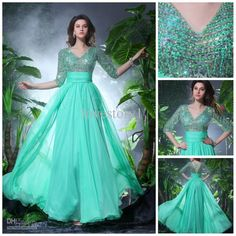 Wholesale Bride Dress - Buy Dazzling Sexy V Neck Crystal Hunter Green Mother of the Bride Dresses Mother Dress Evening Gown B-118, $178.02 | DHgate