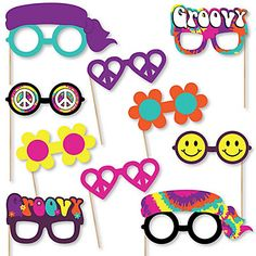 6e09b42a1081 60 s Hippie Glasses - Paper Card Stock 1960s Groovy Party Photo Booth Props  Kit - 10 Count