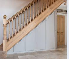 A perfectly harmonised under-stairs cloakroom Coat Storage, Stair Storage, Cupboard Storage, Fitted Bedroom Furniture, Under Stairs Cupboard, Red Cottage, Home Bedroom, Bedrooms, Simple Bathroom