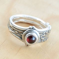 Spoon Ring with Garnet Upcycled Sterling Silver by metalsmitten, $70.00