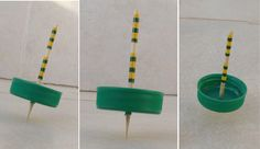 Creative way to recycle plastic bottle caps; make spinning tops.
