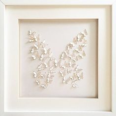 "Photo Frames And Art 16x16""/40x40cm Large 3D Lasercut Pearl Butterflies 'Butterfly' Framed Wall Art"