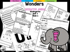 """This 25 PAGE Kindergarten interactive journal is aligned to Common Core and to the McGraw Hill Wonders series for Unit 7-Week 1. Complete Set Includes:Mini Anchor Chart/Activities for Letter """"Uu"""", Compare and Contrast and Genre (Informational)Handwriting PracticeCut and Paste Graphic Organizers  Build It!"""