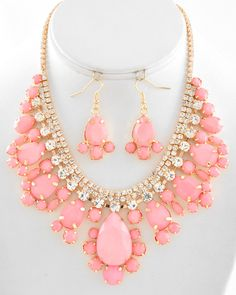 Bows To Toes | Large Pink & Gold Rhinestone Necklace | Online Store Powered by Storenvy
