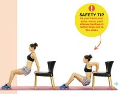 TRICEP DIP Areas trained: REAR UPPER ARMS, SHOULDERS