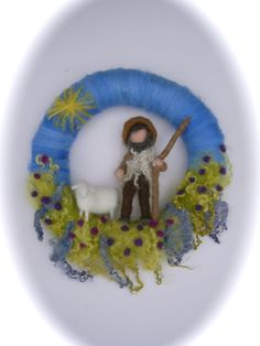 Wreath shepherd and sheep. Needle Felted. Waldorf