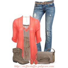 """""""Coral & Taupe"""" by steffiestaffie on Polyvore"""