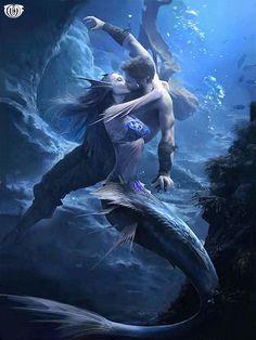 Men Women Together - Fantasy Art Dark Fantasy Art, Artwork Final Fantasy, Foto Fantasy, Fantasy Love, Beautiful Fantasy Art, Mermaid Artwork, Mermaid Drawings, Mermaid Paintings, Art Drawings