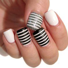 Black And White Striped Nail Art Design///