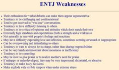 ENTJ Weaknesses. They are not common to all ENTJ, but know all your aspects, good and bad.