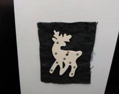 Original Aquarell Weihnachtskarte Rentier von MilkFoam auf Etsy