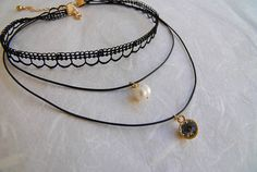 Dainty Choker Layered Choker Necklace Everyday Delicate Black