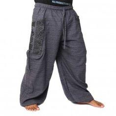 Pantalón tailandeses para enlazar a la aplicación de ethno en algodón pesado