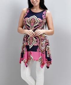 Love this Navy & Pink Paisley Sleeveless Handkerchief Tunic - Plus by Reborn Collection on #zulily! #zulilyfinds