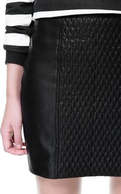 LEATHER EFFECT SKIRT WITH QUILTED FRONT from Zara