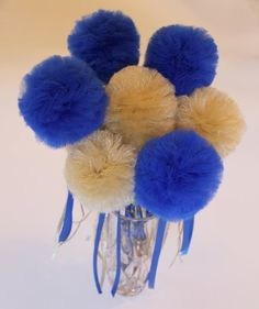 Graduation Party Centerpiece, Tulle Pom Pom Wands, Blue and Gold or Choose Your Colors, DELUXE, 10 pc set – Artsupplies Graduation Party Centerpieces, Graduation Theme, Graduation Ideas, Gold Tulle, Tulle Poms, Pom Pom Centerpieces, Airplane Party, Royal Blue And Gold