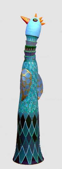 Industrial extrusion terracotta Flamboyant Colourful Exuberant Exotic Gaudy Gorgeous Dedcorative Vivid Gorgeous Spectacular sculpture by Barbara Kobylinska titled: 'Blue Hen (Terracotta Coloured Comic Bird statues)'