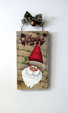 Welcome Sign featuring Santa Hand Painted on by barbsheartstrokes