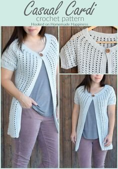 Casual Crochet Cardi Pattern - This Casual Crochet Cardi Pattern is my new favorite layering piece! It's made with DK weight yarn, has an open and airy design, and is short sleeved. It's the perfect Fall and Spring cardigan. Crochet Cardigan Pattern, Easy Crochet Patterns, Crochet Shorts, Crochet Blouse, Crochet Jacket, Cute Crochet, Crochet Shawl, Crochet Designs, Crochet Clothes