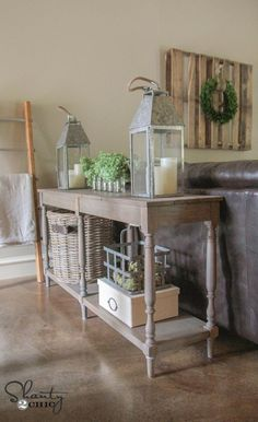 Woodworking Designs Create a simple but beautiful DIY Console Table with these FREE woodworking plans and tutorial by Shanty 2 Chic! - Create a simple but beautiful DIY Console Table with these FREE woodworking plans and tutorial by Shanty 2 Chic! Learn Woodworking, Easy Woodworking Projects, Popular Woodworking, Woodworking Furniture, Furniture Plans, Diy Furniture, Woodworking Plans, Bedroom Furniture, Woodworking Machinery