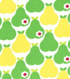 Novelty Cotton Fabric Pears On White