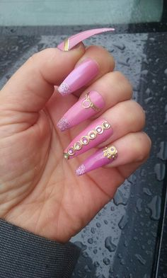 Pink coffin nails with gold sticker nail art by Yemaya J