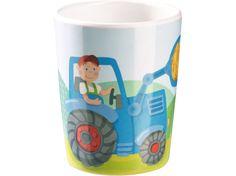 HABA Kindergeschirr Traktor Bauernhof Becher Melamin - lohnende Bonuspunkte sammeln, auf Rechnung bestellen, DHL Blitzlieferung!