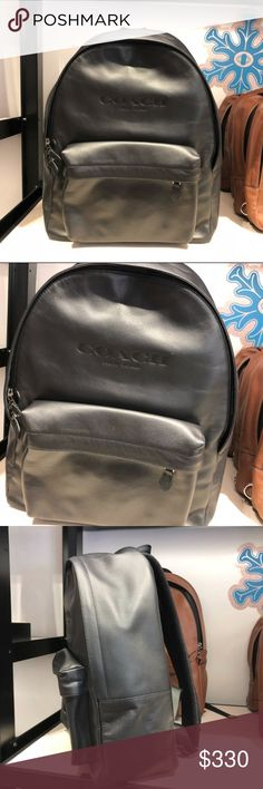 """Coach Charles Mens Backpack Coach Charles Backpack  -  F54786  ♥ Details ♥  Sport calf leather Inside zip and multifunction pockets Inside laptop sleeve Zip closure, fabric lining Outside zip pocket Adjustable shoulder straps 13 3/4"""" (L) x 17 1/4"""" (H) x 6"""" (W) Coach Bags Backpacks"""