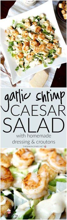 garlic shrimp caesar salad | The Baking Fairy #seafoodrecipes