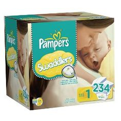.#6: Pampers Swaddlers Diapers Economy Pack Plus Size 1, 234 Count (Packaging May Vary).
