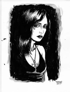 A portrait of Neil Gaiman's famous character, Death, as done by Jonathan Moore (http://furmanjon.deviantart.com)
