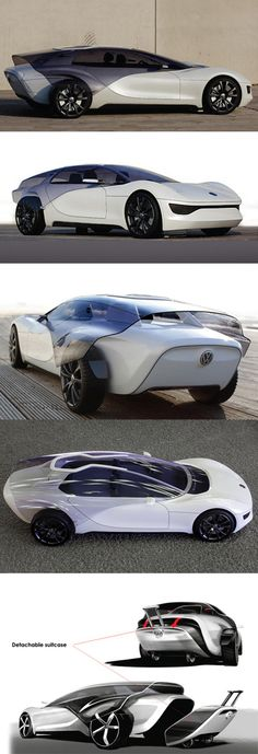 The Volkswagen Viseo concept from 2007 was a project by transport design student Marc Kirsch.    The Volkswagen Viseo is a three seater vehicle. The layout, with two seats up front and one at the rear means that the a narrow, tapering rear section is possible. Making the rear slim has allowed room for the tinted shield to flow over the bodywork and rear wheels without making the overall width of the Viseo greater than a standard car.