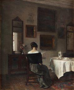 At the Breakfast Table. Carl Vilhelm Holsøe.  (Danish, 1863-1935). Oil on canvas.