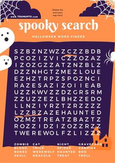 Halloween Word Search! We got it. Get the template in our Halloween Templates Bundle, which includes Halloween Instagram Posts and a menu card, too.