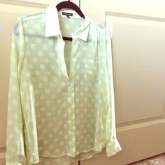 Light green polka dot sheer blouse Size S Sheer Six button collared top with cuffs. Easily goes from business to casual. Pocket on left breast. No rips or tears. Ah g to dry always wrinkle free :) Loose and flowy fit. Timing Tops Blouses