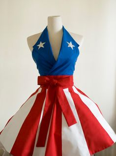 So I think I know what I want for Christmas!    Halter apron inspired by Captain America USO Girls-Made to Order. $60.00 via Etsy.