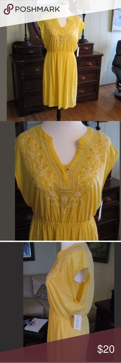 New yellow embroidered slip on dress Cute cotton modal yellow slip on dress Sonoma Dresses