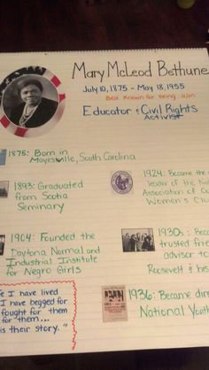 There are two reading comprehension sheets one about for Mary mcleod bethune free coloring pages