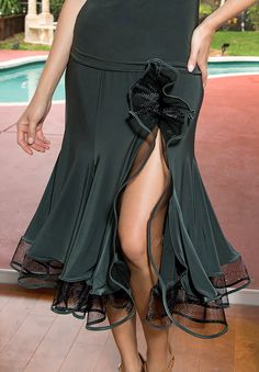 Dance America S520 - Short Crinoline Ruffled Latin Skirt| Dancesport Fashion @ DanceShopper.com